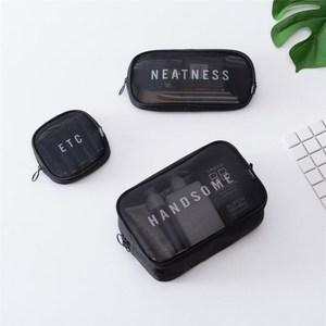 PUSH!旅遊用品洗漱包化妝包收納袋三件套S65黑色黑色