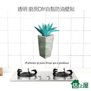 【佶之屋】透明 廚房DIY自黏防油壁貼(60x90cm)(2件組)植物x2
