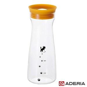 ADERIA 日本進口貓咪耐熱玻璃冷水瓶900ml(黃)