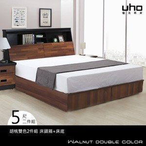 床組【UHO】可爾頓5尺雙人2件組(床頭箱+床底)