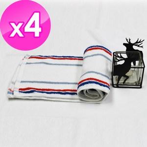 【法式寢飾花季】優雅生活-100%純棉條紋休閒運動毛巾(HJ0415)X4件組