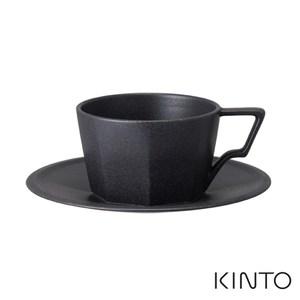 日本KINTO OCT八角咖啡杯盤組300ml-黑