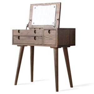 原木日式和風紅橡木實木兩抽0.75M掀蓋式化妝桌s0355-胡桃色