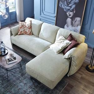林氏木業輕奢荷蘭絨雙扶手可拆洗L型三人布沙發(附抱枕)RAB2K-米白色