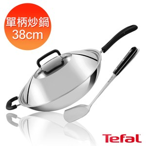 Tefal法國特福 多層鋼38CM單柄炒鍋(附鍋蓋+鍋鏟)