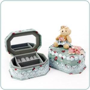 HONEY COMB 小熊藍綠色六角珠寶盒 GE14