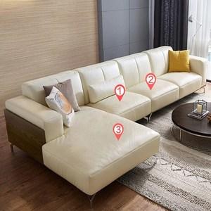 林氏木業奢華歐式頭層牛皮L型右貴妃四人皮沙發(附抱枕)2090-米白