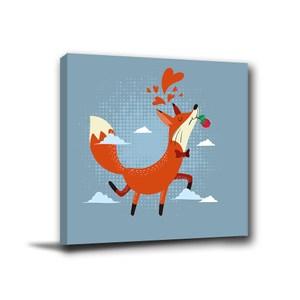 24mama掛畫-單聯式 狐狸無框畫 小孩房佈置 30x30cm