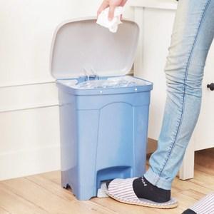 吉利潔腳踏式垃圾桶15L-粉藍