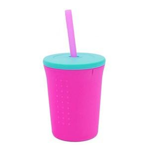 美國silikids果凍餐具-TOGO矽膠吸管杯組12oz-小桃紅