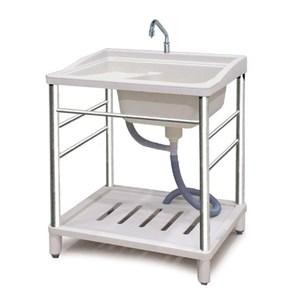 超方便耐用洗衣槽-附龍頭 60x72x80cm 觸控開關 不鏽鋼腳架 塑鋼水槽