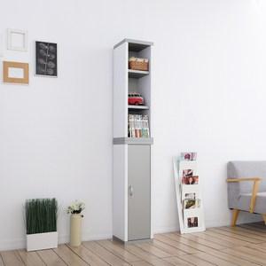 一加一組合【Accessco】 日系雙色六格附門厚板收納書櫃(亮銀白)