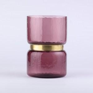 巧藝金屬環造型玻璃花器 紫