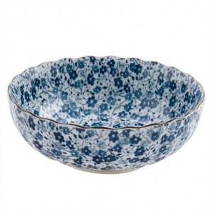 藍染小花 4.5吋菊型缽 13.5cm S3-09