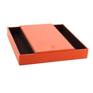 LOVEL 經典愛馬仕橘皮革收納 防塵掀蓋8格置物盒