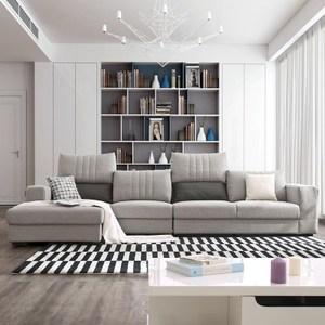 林氏木業北歐現代升降頭靠可拆洗右L四人布沙發(附抱枕)972-淺灰色