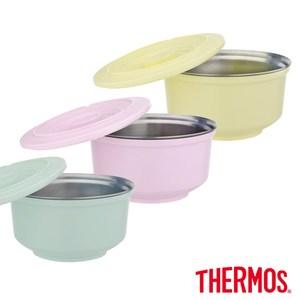 【THERMOS膳魔師】不鏽鋼兩用粉彩隔溫碗1.05L(A-DBOWL奶油黃