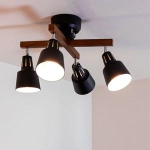 [日本 愛媛家居EHM]LIGHTLY X RM實木四頭十字吸頂燈(遙控器款)深棕色x黑色