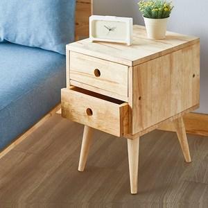 實木簡約自然木紋二抽床頭櫃