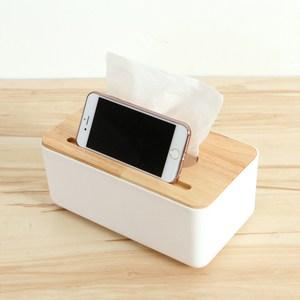 【三房兩廳】橡木面紙盒-中(方形手機槽)