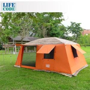 【LIFECODE】民族風《二房一廳》多用途超大4-8人帳篷(三門三窗)-桔色
