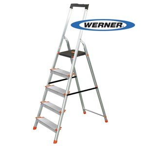 [特價]美國Werner穩耐安全鋁梯-L235R-2 鋁合金大平台5階家用梯/A字梯