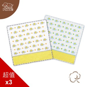貝寶純棉抗菌紗布小方巾(3入)_小象隨機色3入
