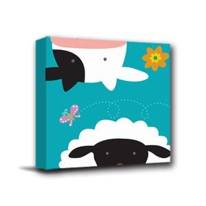 24mama掛畫-單聯式 北歐風無框畫 綿羊與乳牛 30x30cm