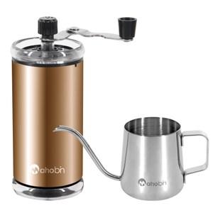 Mahobin魔法瓶 精緻組手搖咖啡研磨機/磨豆機+耳掛式咖啡手沖壺細