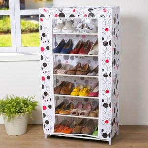 Homelike 幾何六層布簾鞋架