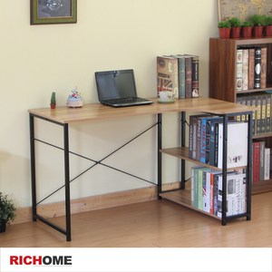 【RICHOME】彼德L型工作書桌(胡桃色)