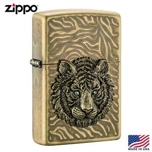 美系Zippo 虎首之徽-黃銅浮雕防風打火機#ZA-1-4