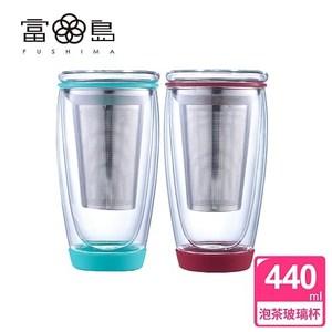 【FUSHIMA 富島】雙層玻璃泡茶獨享杯440ML附濾網(2色可選)烈焰紅