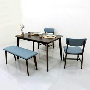 【YFS】布德胡桃色餐桌椅組-120x80x75cm(一桌二椅一凳)