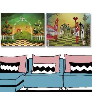 【24mama 掛畫】二聯式油畫布無框畫 40x30cm-火烈鳥與城堡油畫布無時鐘