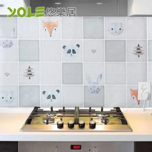 【YOLE悠樂居】繽紛創意設計款廚房自黏防油壁貼(2入)-咿呀動物園
