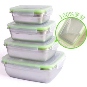韓式304不鏽鋼密封保鮮盒4件組