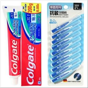 【Colgate 高露潔】牙膏(200g*12)+牙間刷0.7mm(10支)*6