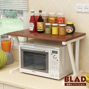 【BLAD】雙倍收納-高質感高耐重木紋雙層廚房微波爐架(原木深棕)原木深棕