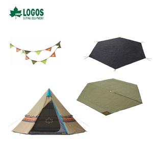 日本LOGOS 印地安帳蓬400全餐 400帳篷+內墊+地墊+三色旗幟