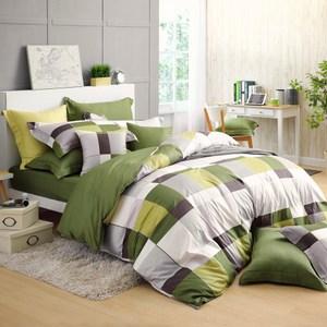 GOLDEN-TIME-完美主義者-精梳棉薄被套床包組(綠-加大