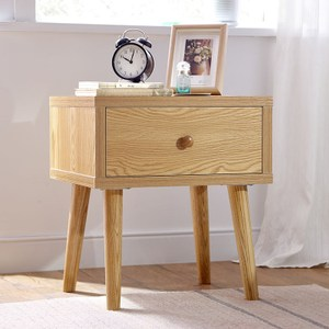 林氏木業北歐簡約原木色儲物收納床頭櫃EN1B