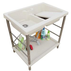 新式特大雙槽塑鋼水槽 洗衣槽 洗手台(不鏽鋼腳架)-1入