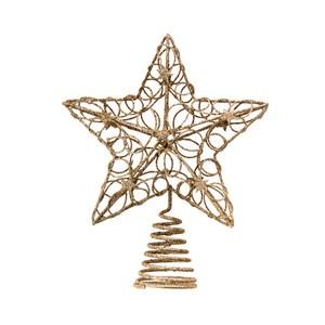 金色亮粉五角樹頂星19cm