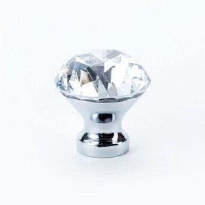 奢華鑽石型水晶鋅質鍍亮鉻取手30mm