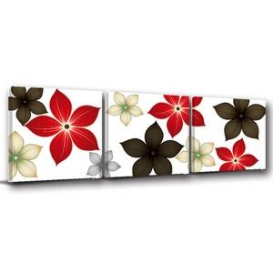 24mama掛畫-三聯式 現代小雅 花卉 插畫風無框畫-50x50cm
