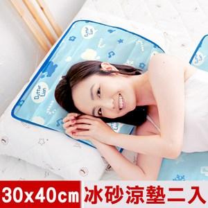 【奶油獅】雪花樂園-長效型冰砂冰涼墊/坐墊/枕墊30x40cm藍色二入