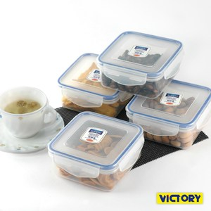 【VICTORY】方形扣式食物密封保鮮盒-550ml(4入)