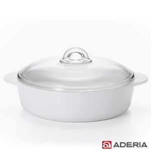 【ADERIA】日本進口陶瓷塗層耐熱玻璃調理鍋2.3L
