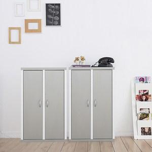 兩入一組【Accessco】日系雙色六格二門厚板收納書櫃(亮銀白)亮銀白